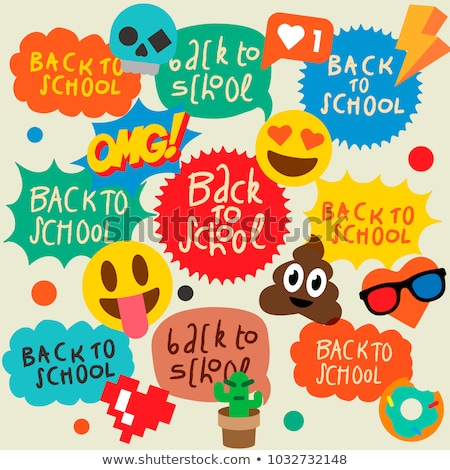 back to school speech bubbles stickers with emoji smile faces stock photo © ikopylov