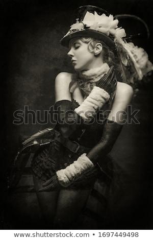 mooie · jonge · vrouw · zwart · wit · korset · patroon - stockfoto © svetography