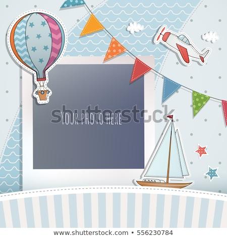 Foto d'archivio: Buon · compleanno · carta · photo · frame · palloncini · party · frame