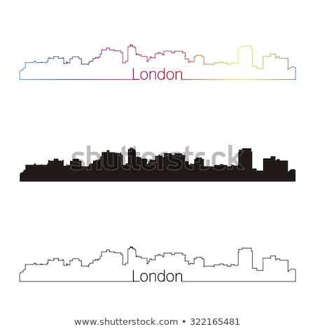 Londra · ufuk · çizgisi · siluet · yalıtılmış · beyaz · yansımalar - stok fotoğraf © blamb