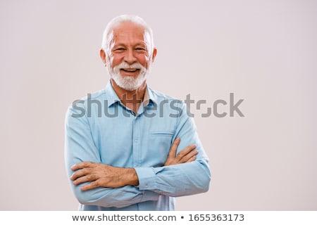 starszy · człowiek · śmiechem · kamery · portret · osoby - zdjęcia stock © is2