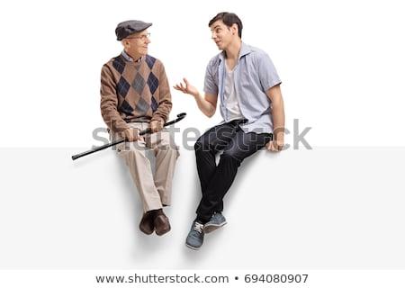 Dziadek posiedzenia dwa baby człowiek dziecko Zdjęcia stock © IS2