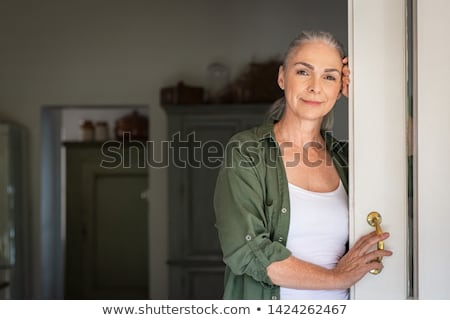 Sereno olhando mulher mão feminino fundo branco Foto stock © IS2
