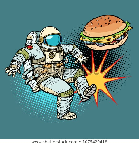 Astronaut kicks Burger fast food, proper nutrition Stock photo © studiostoks