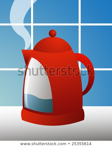 Tea kettle with boiling water against a blue tile in the kitchen Stock photo © artjazz