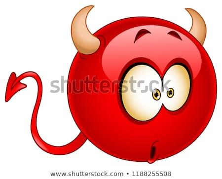 Sonriendo rojo Cartoon cara sonriente carácter mal Foto stock © hittoon