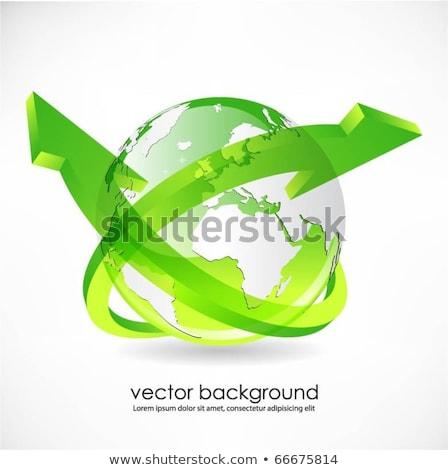 földgömb · zöld · nyilak · illusztráció · absztrakt · kék - stock fotó © pathakdesigner
