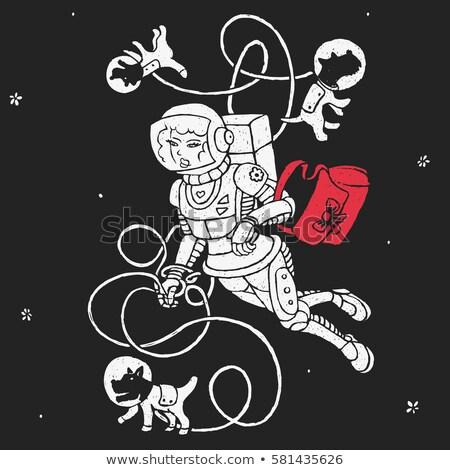 астронавт ходьбе собака пространстве костюм Поп-арт Сток-фото © studiostoks