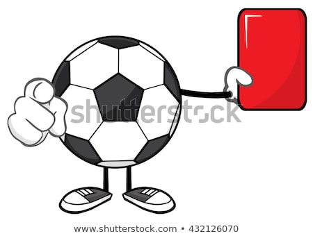 Soccer Ball Cartoon Mascot Character Referees Pointing And Showing Red Card Stock photo © hittoon