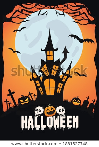 happy halloween vector illustration with moon and cemetery on dark background holiday design with s stock photo © articular