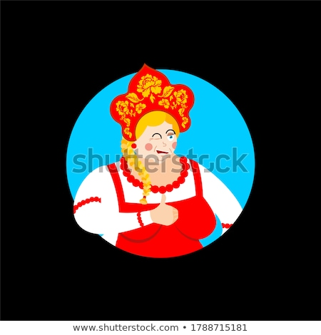 Russia thumbs up and winks girl. Russian woman happy. Female joy Stock photo © popaukropa
