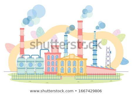 Pipe factory and smoke. Factory fence. Vector illustration Stock photo © popaukropa