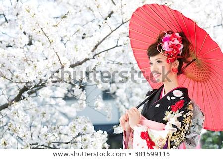 ázsiai nő hagyományos japán kimonó kint Stock fotó © artfotodima