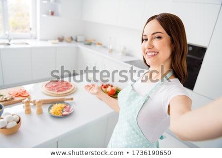 肖像 幸せ 若い女性 ペストリー 顔 ストックフォト © deandrobot