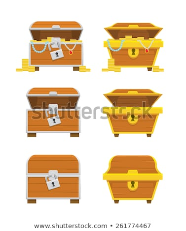 shiny gold ancient coins in old open wooden chest stock photo © robuart