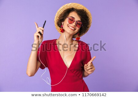 Kép imádnivaló barna hajú nő 20-as évek szalmakalap Stock fotó © deandrobot