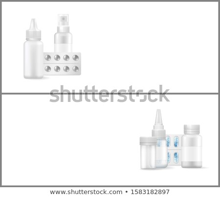 Gyógyszertár poszter orvosi kapszulák gyógyszer háló Stock fotó © robuart