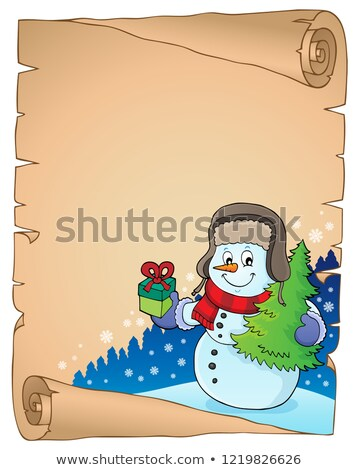 Winter snowman subject parchment 3 Stock photo © clairev