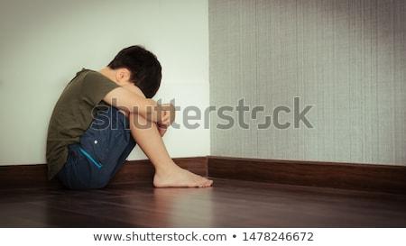 Gond fiatal srác illusztráció arc gyermek háttér Stock fotó © bluering
