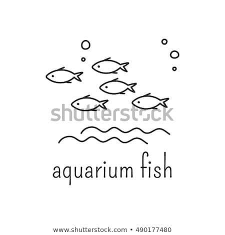 hand drawn aquarium with fish and seaweed icons stock photo © robuart