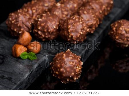Luxe chocolade hazelnoten stukken mint Stockfoto © DenisMArt