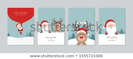 Santa Claus and reindeer with signboard Stock photo © Genestro