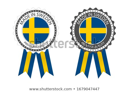 Modern vector Made in Sweden label isolated on white background, simple sticker with Swedish colors, Stock photo © kurkalukas
