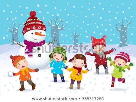 winter season with kids and snowman stock photo © colematt