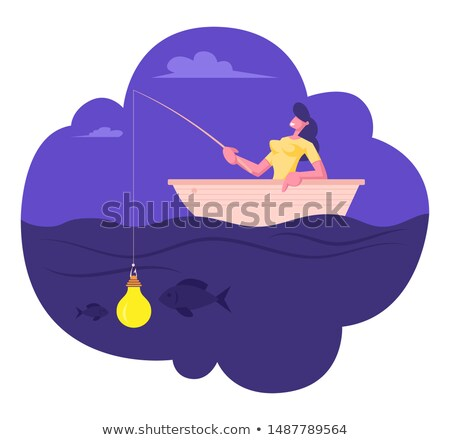 Business woman motivated by money hanging on a fishing hook. Stock photo © ichiosea