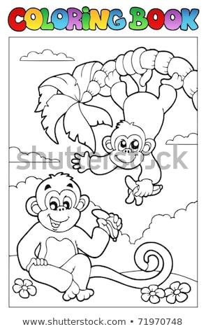 állat · skicc · boldog · majom · illusztráció · természet - stock fotó © clairev