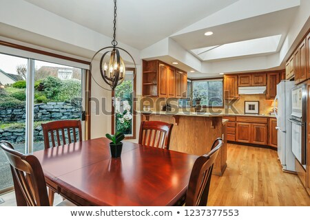Keuken interieur kers hout eetkamer tabel oranje Stockfoto © iriana88w