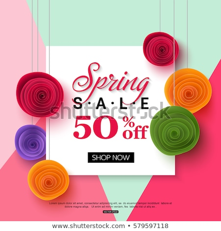 Spring sale background banner with beautiful colorful pink flower. Vector Stock photo © Natali_Brill