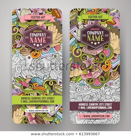 Massage hand drawn doodle banners set. Cartoon detailed flyers. Stock photo © balabolka
