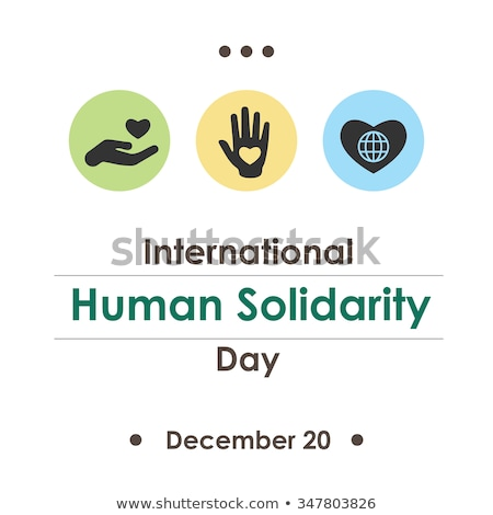 Human Solidarity Day card of hands united in heart Stock photo © cienpies