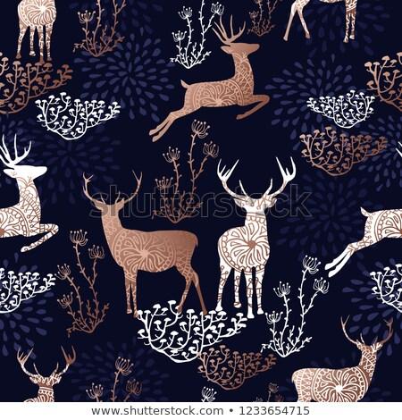 Natal ano novo cobre padrão veado cartão Foto stock © cienpies