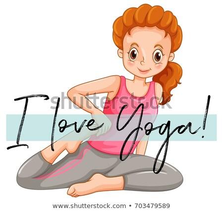 Wyrażenie miłości jogi ilustracja dziewczyna sportu Zdjęcia stock © colematt