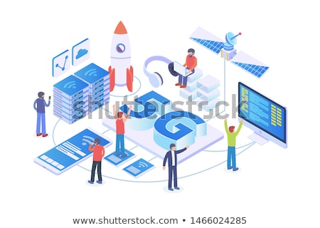 Broadcasting - modern isometric vector illustration, web banner Stock photo © Decorwithme