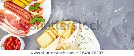 Italian antipasti wine snacks set. Mediterranean. Falt lay. Copy space. Stock photo © Illia