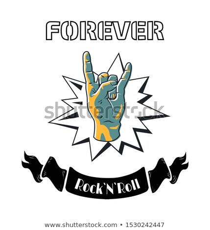 rock and roll forever proclaiming symbol poster stock photo © robuart