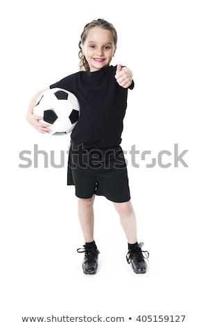jonge · voetballer · voetbal · buiten · voorjaar · gelukkig - stockfoto © Lopolo