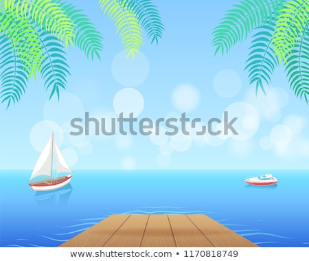 Sail Boat with White Canvas Sailing in Deep Waters Stock photo © robuart