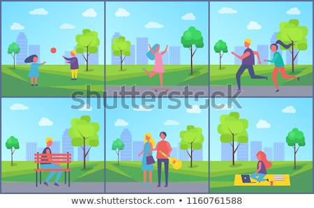 People in Park Poster Boy Sitting Alone on Bench Stock photo © robuart