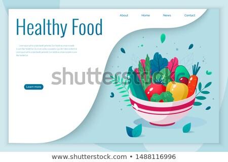 Frische Lebensmittel Landung Seite weiß Frau Stock foto © RAStudio