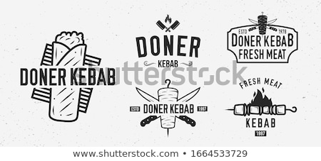 Kebab illustratie diner salade cartoon Stockfoto © ThomasAmby
