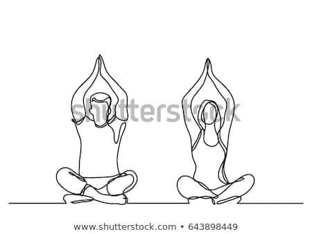 mujer · yoga · dibujado · a · mano · garabato · icono - foto stock © rastudio
