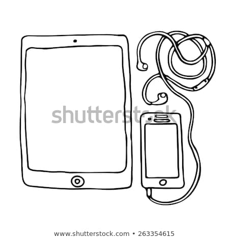 tablet with headphones hand drawn outline doodle icon stock photo © rastudio