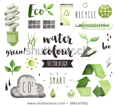 Clean Energy Sustainable, Renewable, Green Leaf Lightbulb Vector Illustration Stock photo © jeff_hobrath