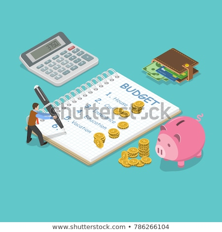 Isometric flat vector concept of personal home finance, budget planning. Stock photo © TarikVision