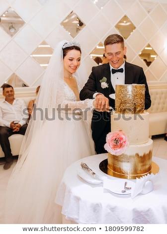 étterem asztal esküvői torta házaspár vektor áll Stock fotó © robuart
