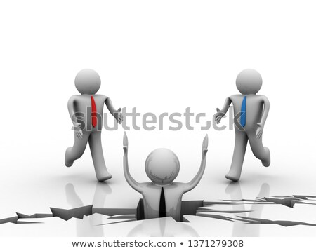 3d személy segítség húz másik férfi lyuk Stock fotó © ribah